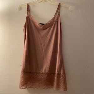 dusty Pink V-neck lace trim cami